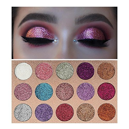Beauty Glazed - Beauty Glzaed 15 Colors Glitter Make-up Powder Metallic Shimmer Eye Shadow Palette Highly Pigmented Mineral Cosmetic Makeup Eyeshadow