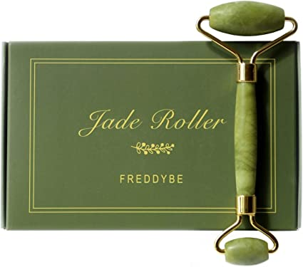 null - Jade Roller for Facial Massage with Gua Sha Scraping Tool. Green 100% Authentic Xiuyan Jade Stone Massager Kit. 2 in 1 Face, Eye, Neck and Body Beauty Roller for Skin Care and Relaxation by FreddyBe
