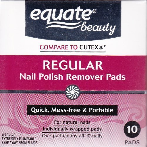 Equate - Acetone Regular Nail Polish Remover Pads by Equate 10ct Compare to Cutex