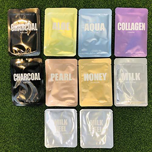 LAPCOS - LAPCOS Sheet Masks Variety Set 8 Masks + 2 Bonus Exfoliating Pads - Honey Pearl Aloe Aqua Collagen Charcoal Milk Face Masks Variety Set Korean Beauty Salon
