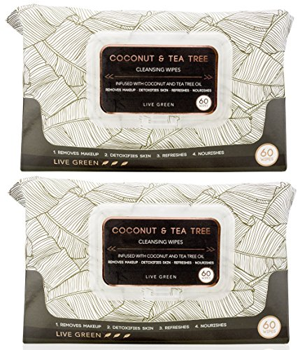Live Green - Coconut and Tea Tree Oil Cleansing Wipes