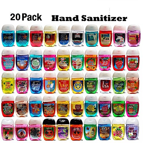 PocketBac - Bath and Body Works Anti-Bacterial Hand Gel 20-Pack PocketBac Sanitizers, Assorted Scents, 1 fl oz each