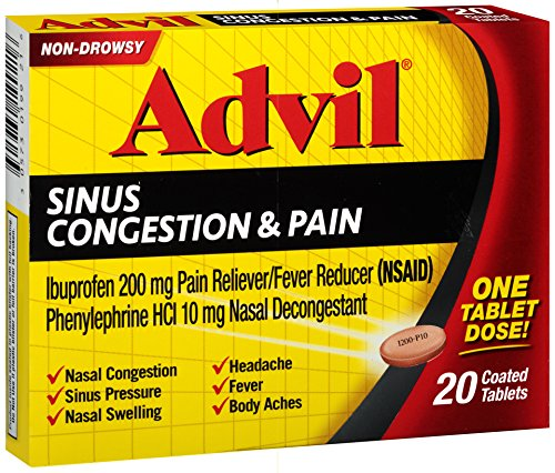 Advil - Advil Sinus Congestion & Pain Reliever Coated Tablets, 20 Count