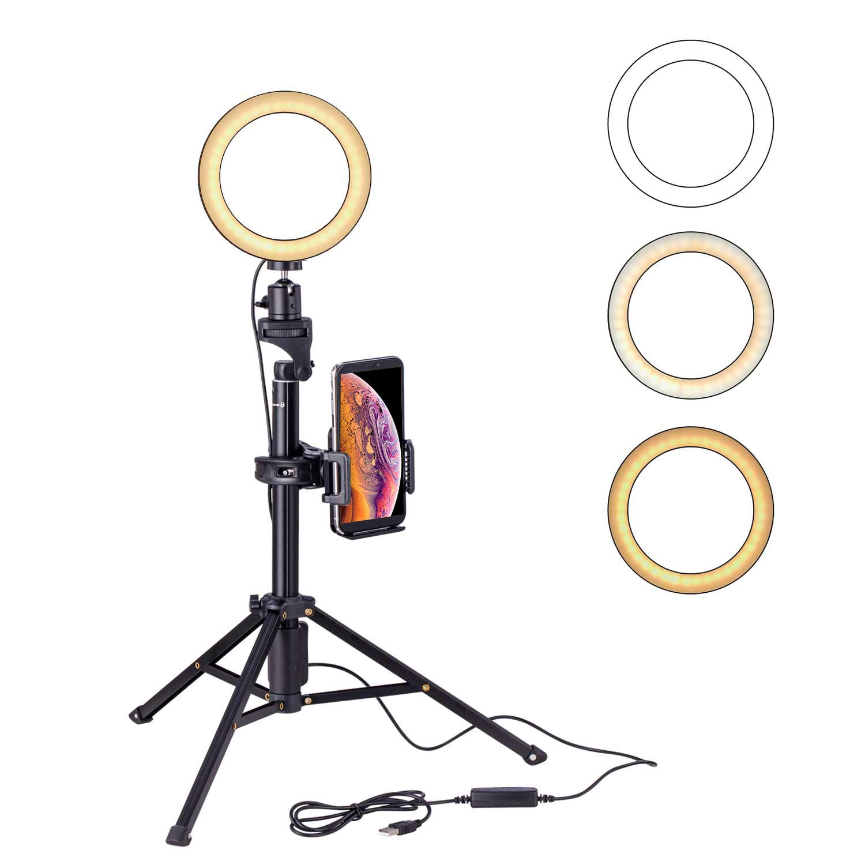 null - Eocean 8 pulgadas Selfie Ring Light con trípode de 54 pulgadas para YouTube / Transmisión en vivo / maquillaje, Mini cámara de luz de anillo para Vlog / Video / Fotografía Compatible con iPhone Xs / Max / XR 8/7 Plus / X / Android