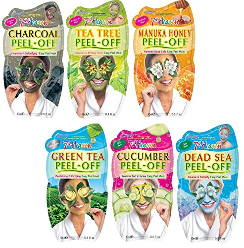 7th Heaven - 7th Heaven Facial Peel Off Mask Variety Pack, Charcoal, Tea Tree, Manuka Honey, Green Tea, Cucumber & Dead Sea
