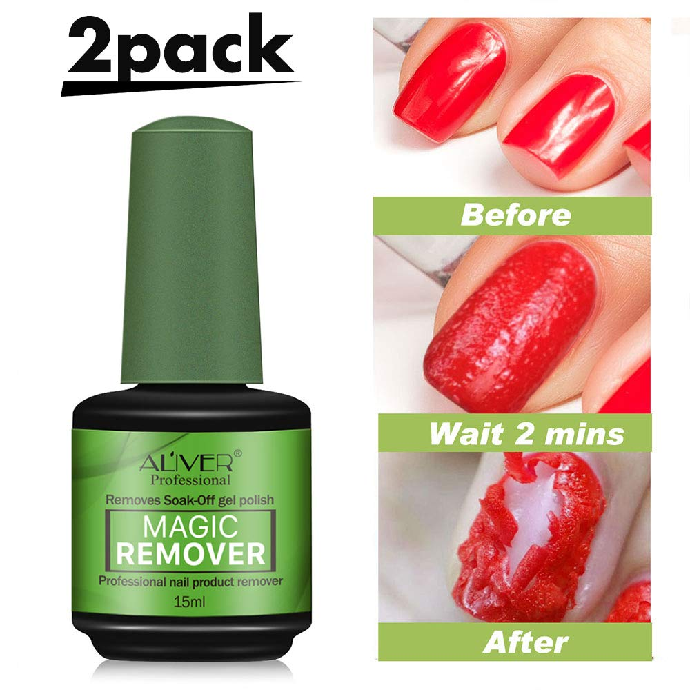 2pcs Magic Nail Polish Remover Professional Soak-off Gel Polish Remover for Nail Art Lacquer in 3-5 Minutes Easily & Quickly, Don't Hurt Your Nails - 15 mls