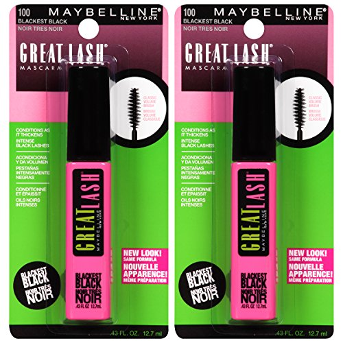 Maybelline New York - Maybelline New York Great Lash Washable Mascara Makeup, Blackest Black, 2 Count