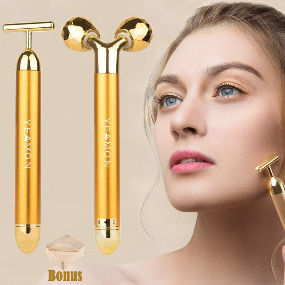 null - 2-IN-1 Beauty Bar 24k Golden Pulse Facial Face Massager,Electric 3D Roller and T Shape Arm Eye Nose Head Massager Instant Face Lift,Anti-Wrinkles,Skin Tightening,Face Firming