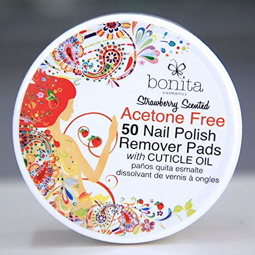 Bonita Cosmetics - Acetone Free 50 Nail Polish Remover Pads with Cuticle Oil, Strawberry Scented, Bonita Cosmetics