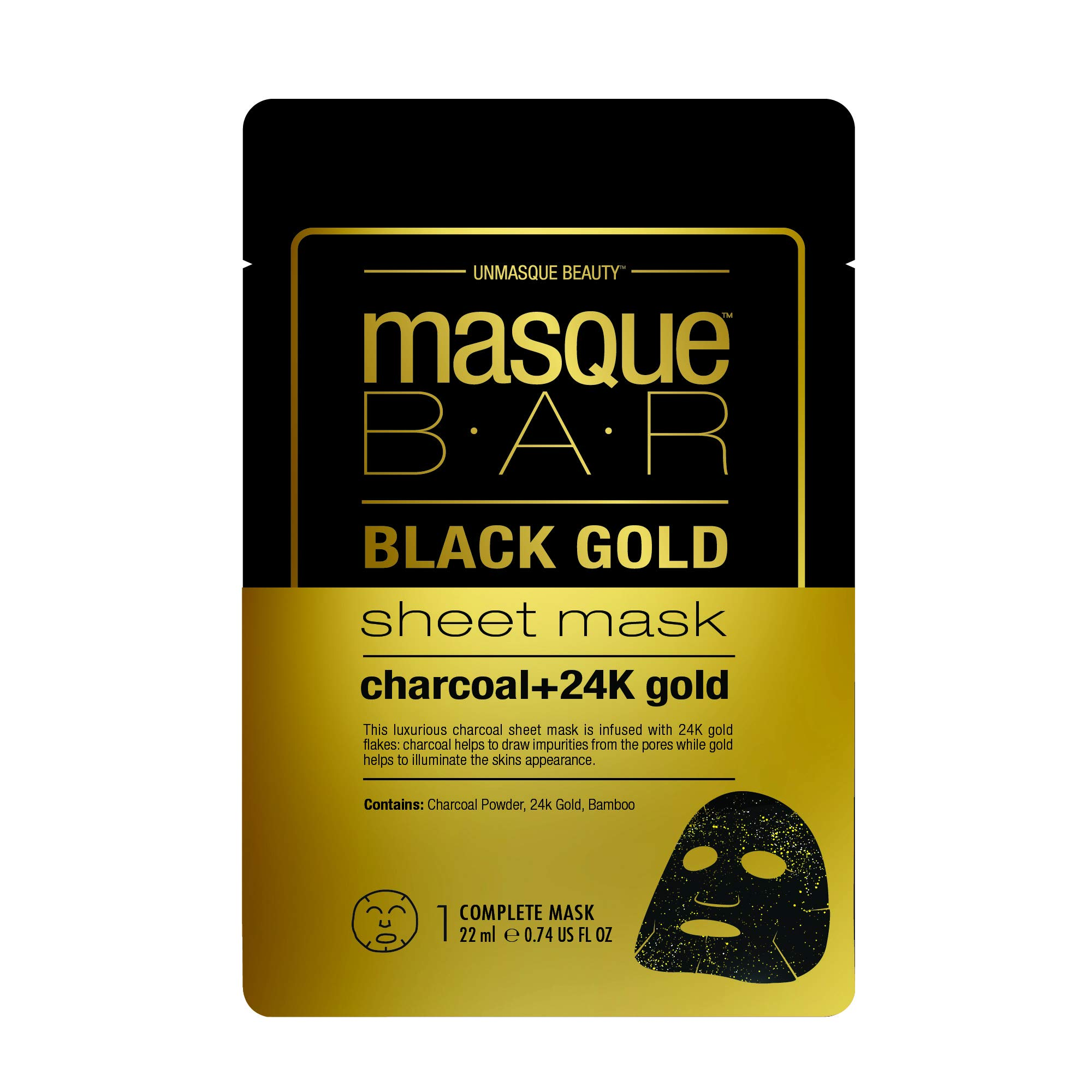 null - masque BAR Black Gold Sheet Mask with 24k Gold, Charcoal Powder, and Bamboo - Enriched Pore Refiner to Brighten Skin - Made in Korea