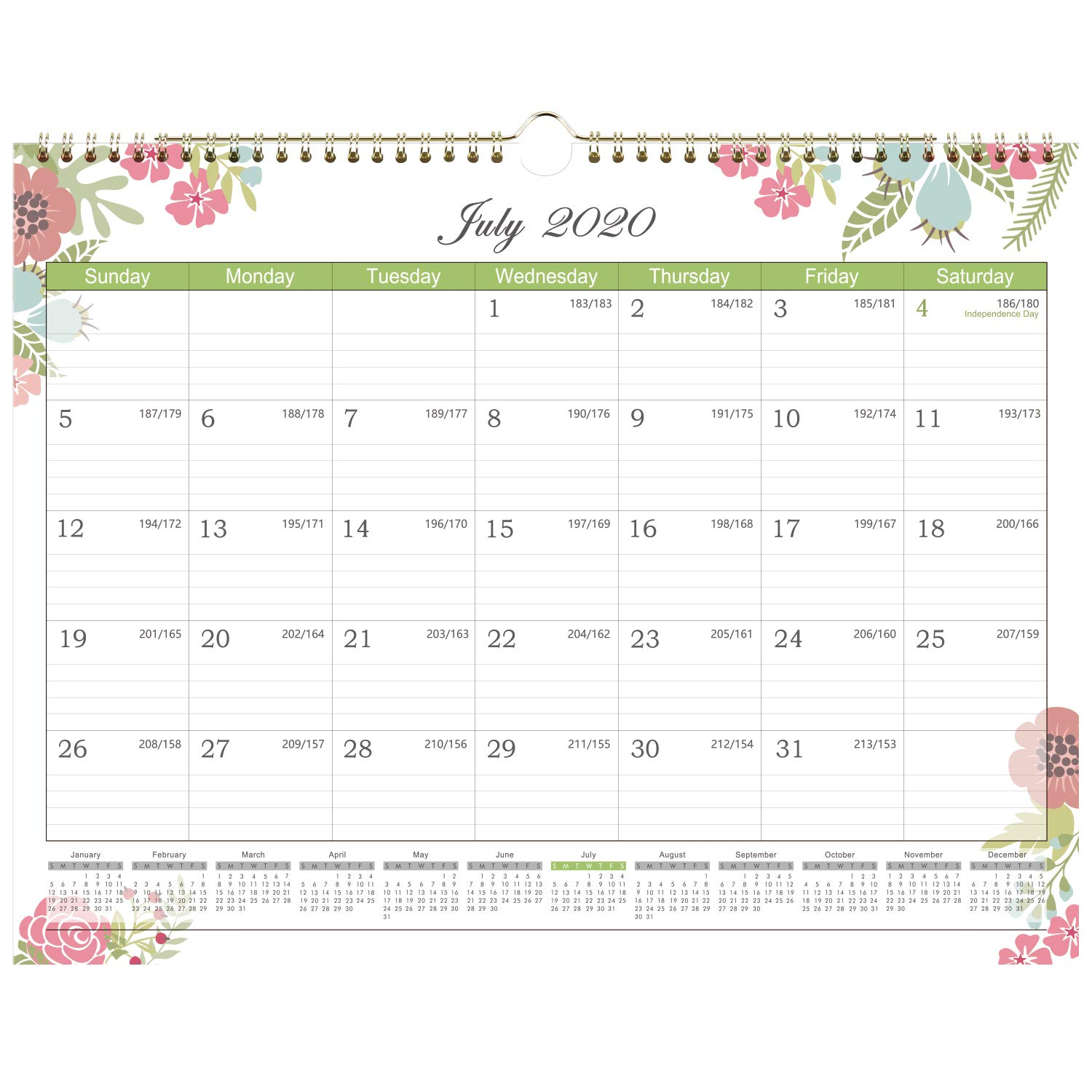 Lemome - 2020-20201 Calendar - 18 Months Wall Calendar with Julian Date, Jan. 2020 - Jun. 2021. Thick Paper Perfect for Organizing & Planning, Ruled Blocks, 15 x 11.5 Inches, Sturdy Gold Wirebound