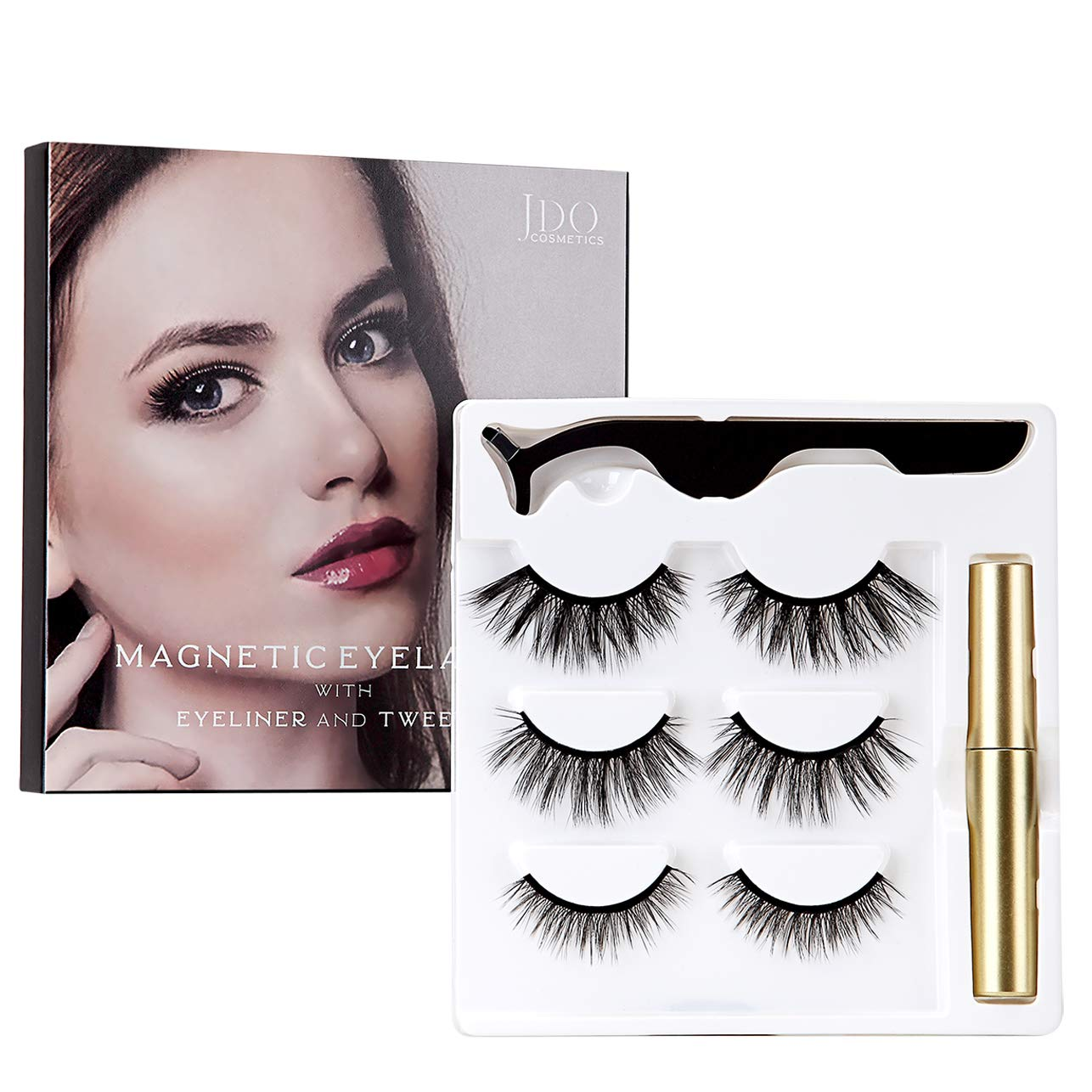 null - JDO Magnetic Eyelashes with Magnetic Eyeliner 3 Styles False Lashes