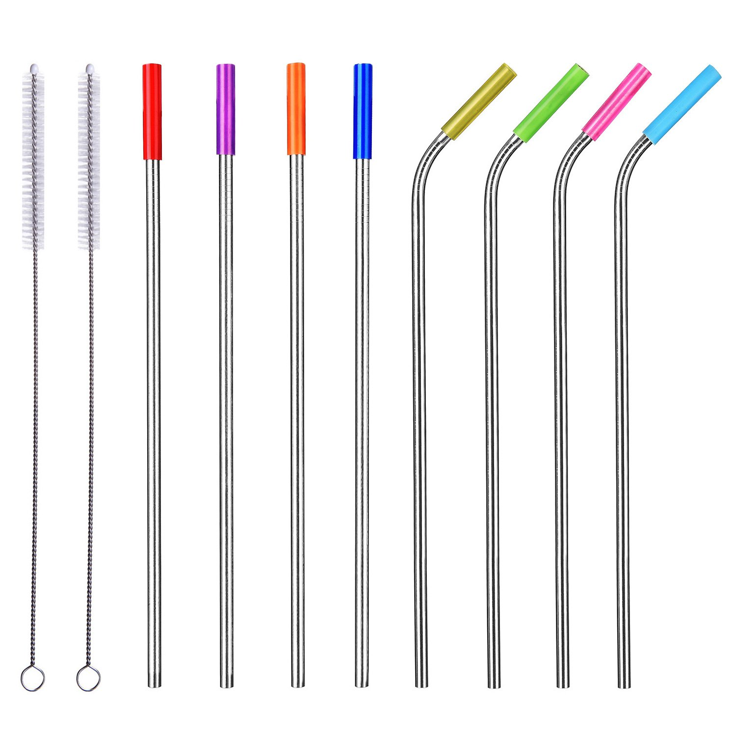 "ALINK - ALINK 10.5"" Long Stainless Steel Straws, Set of 8 Reusable Replacement Metal Straws with Silicone Tips and Cleaning Brush"