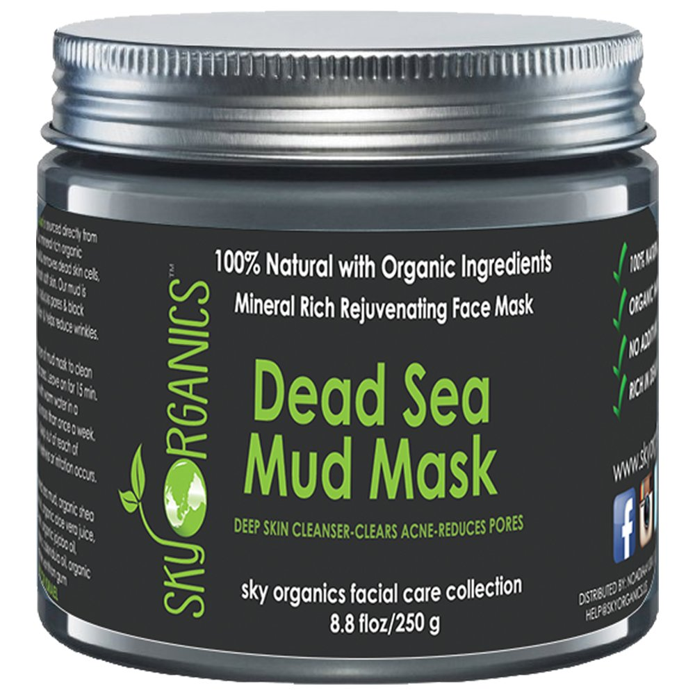 Sky Organics - Dead Sea Mud Mask by Sky Organics For Face, Acne, Oily Skin & Blackheads - Best Facial Pore Minimizer, Reducer & Pores Cleanser Treatment - Natural & Organic Body Mud For Younger Looking Skin 8.8oz