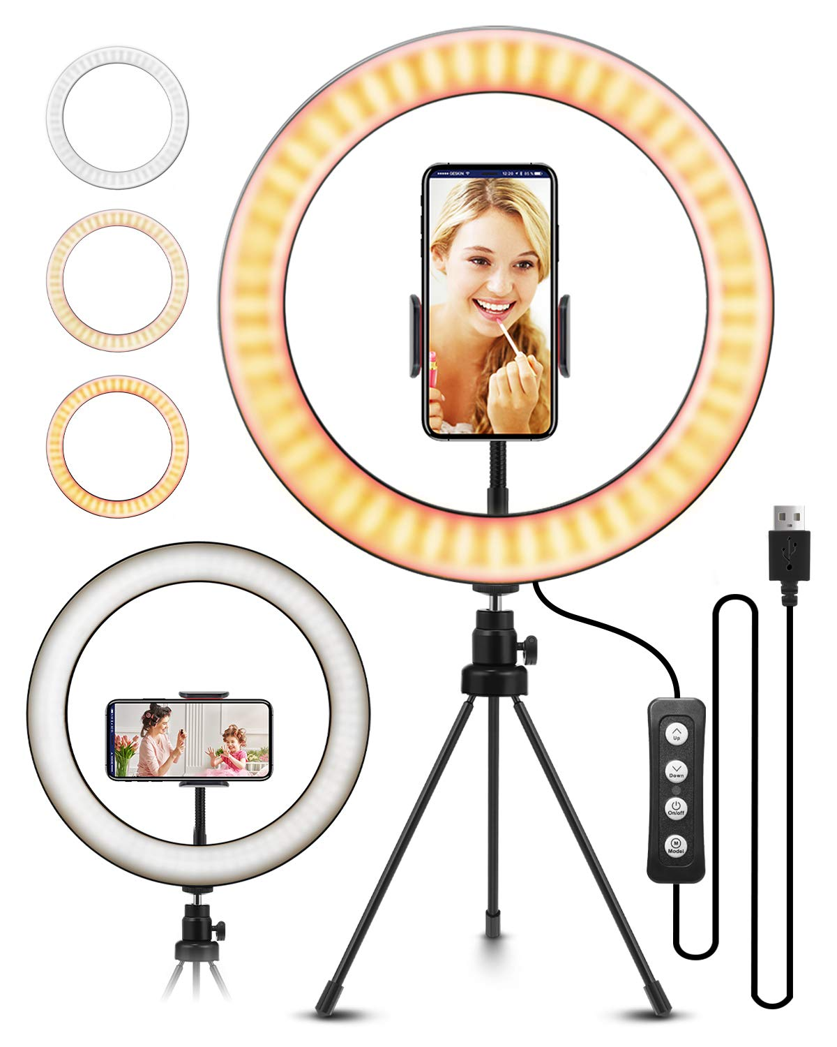 """ELEGIANT - 10.2"""" Selfie Ring Light with Tripod Stand, ELEGIANT Ring Light with Cell Phone Holder 3 Light Modes & 11 Brightness Level and 160 Bulbs for YouTube Video Live Stream Makeup Photography"""
