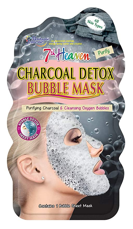 Montagne Jeunesse - 7th Heaven Charcoal Detox Bubble Sheet Face Mask with Purifying Charcoal and Cleansing Oxygen Bubbles for Quick Pore Purification