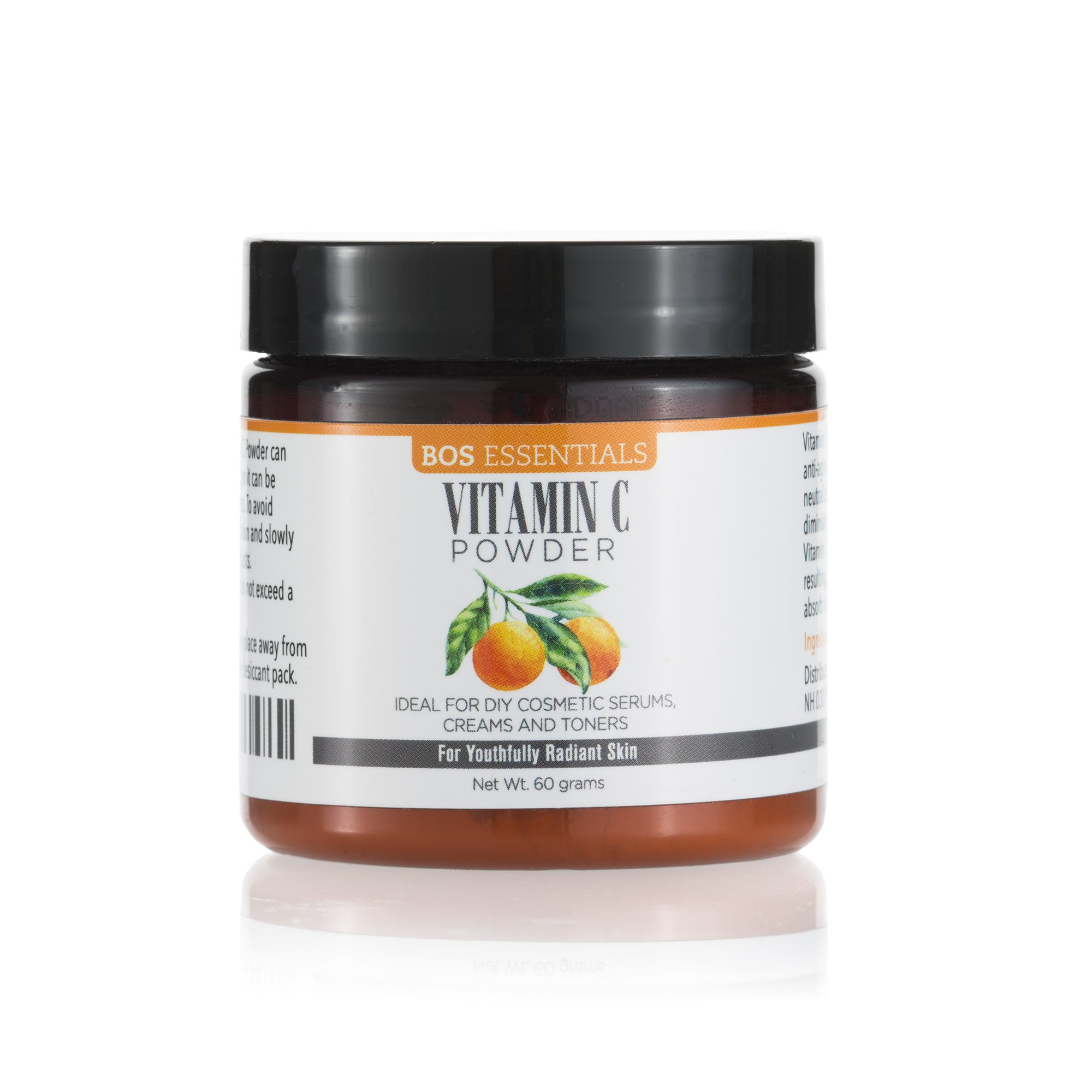 Bos Essentials - Ultra Fine Cosmetic Grade Vitamin C Powder | DISSOLVES INSTANTLY IN WATER | Finest quality available (325 MESH) | Make your own fresh and effective vitamin C serum