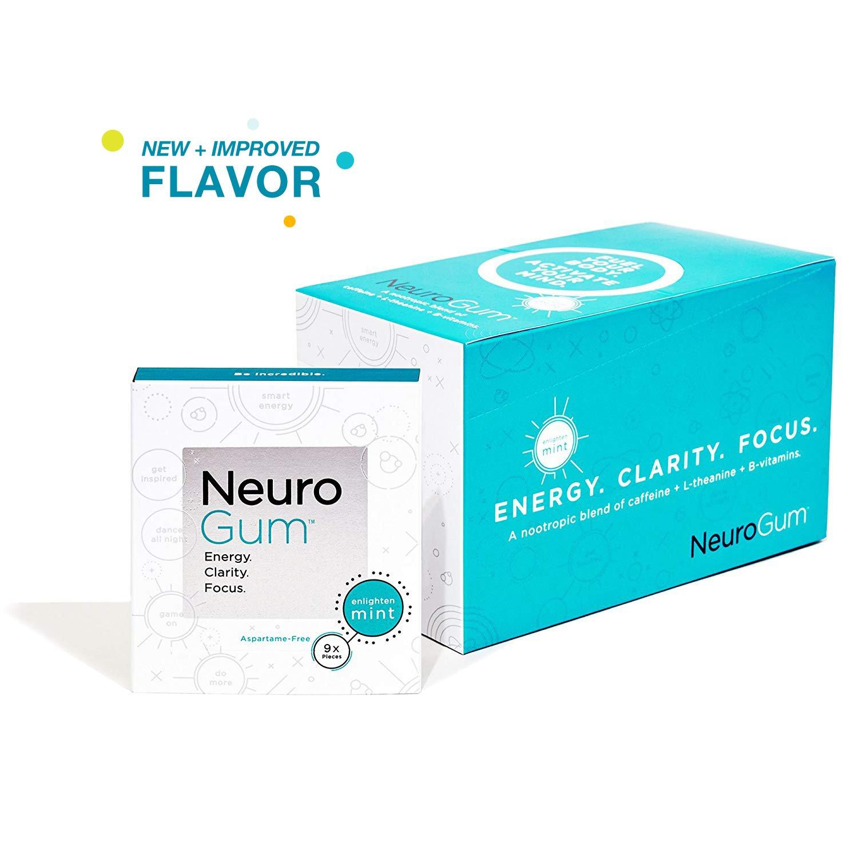 NeuroGum - NeuroGum Nootropic Energy Gum | Caffeine + L-theanine + B Vitamins | Sugar Free + Gluten Free + Non GMO + Vegan | Enlighten Mint Flavor (108 Count)
