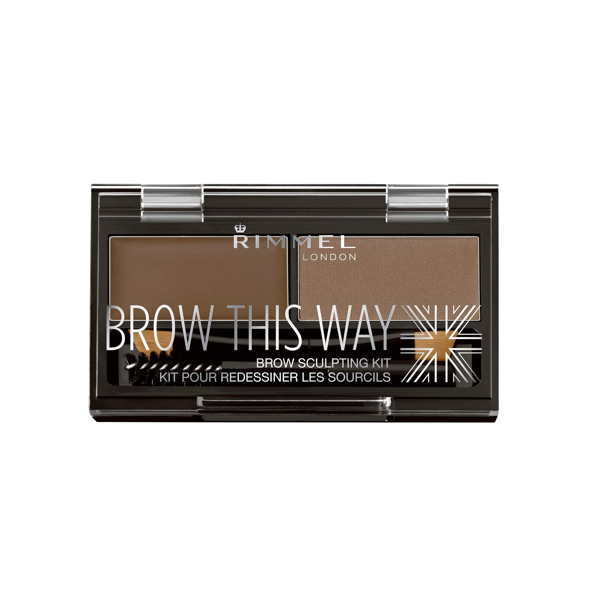 Rimmel - Rimmel Brow This Way Sculpting Kit, Medium Brown, Powder 0.04 oz., Wax 0.03 Oz, Brow Sculpting & Styling Kit with Eyebrow Wax & Setting Powder