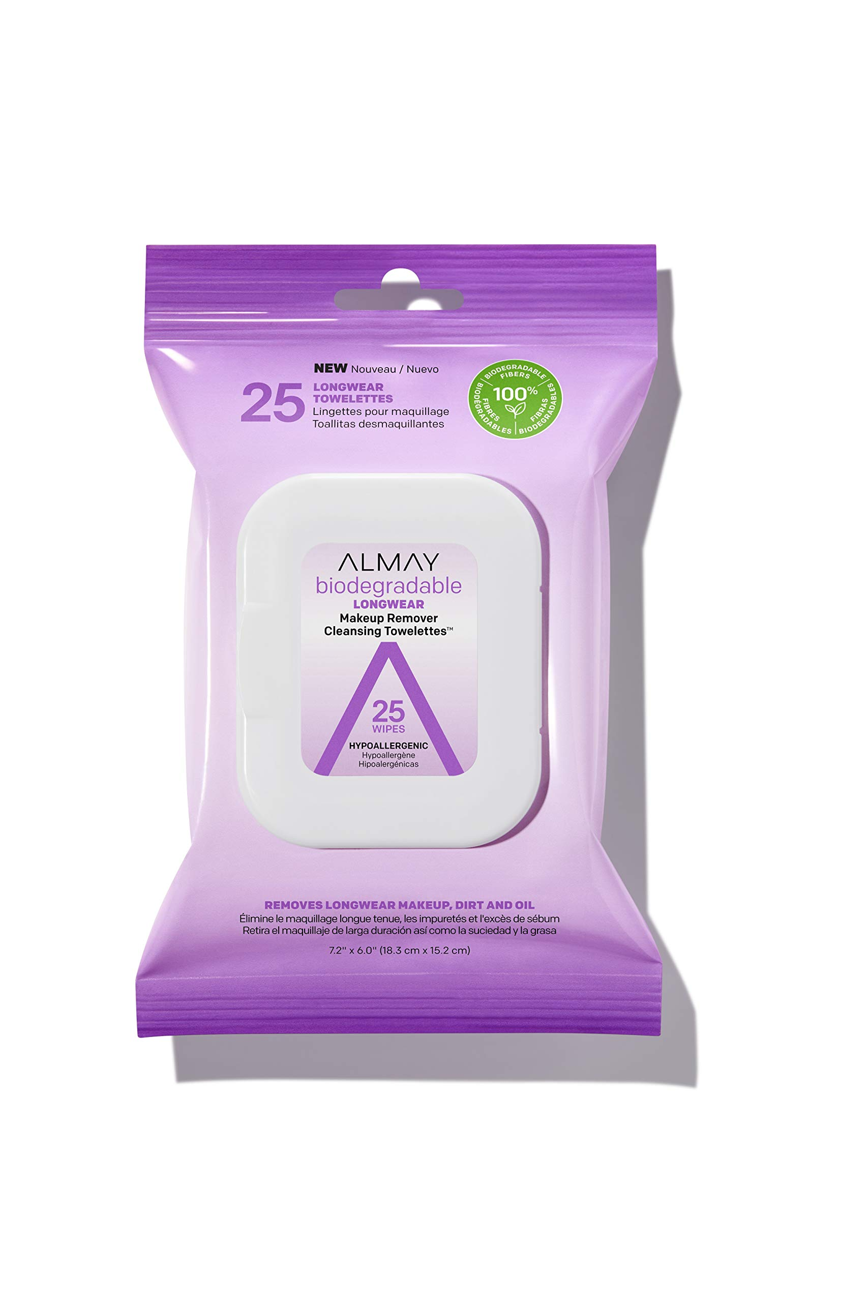 Almay - Almay Biodegradable Longwear Makeup Remover Cleansing Towelettes, Hypoallergenic, Cruelty Free, Fragrance free, Dermatologist Tested, 25 Makeup Remover Wipes