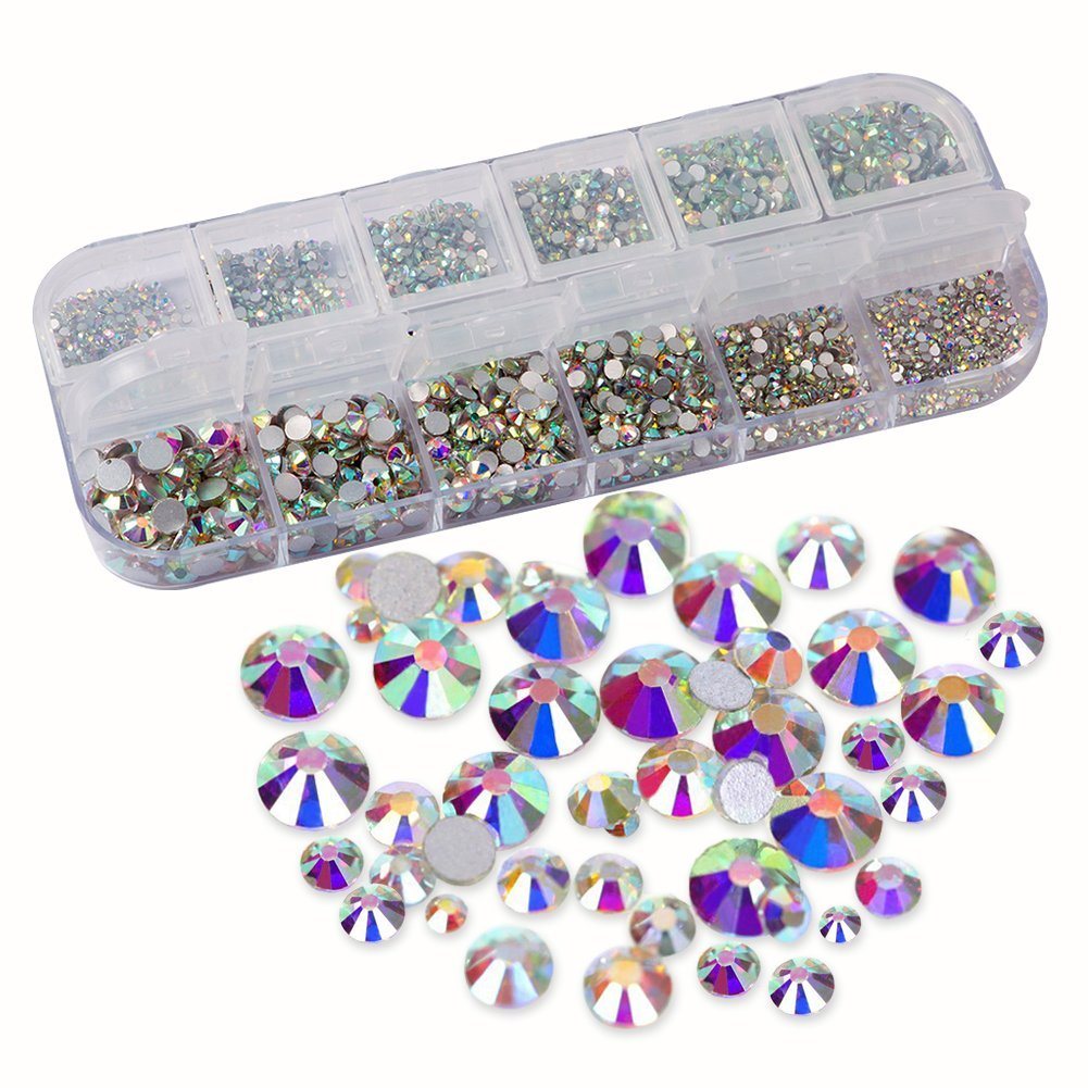 null - URlighting Crystal AB Rhinestones (3214 Pcs) Nail Art Rhinestones Round Beads Flatback Glass Charms Gems Stones, 9 Sizes for DIY Crafts, Phone, Nail Art, Clothes, Bag, Shoes, Wedding Decoration