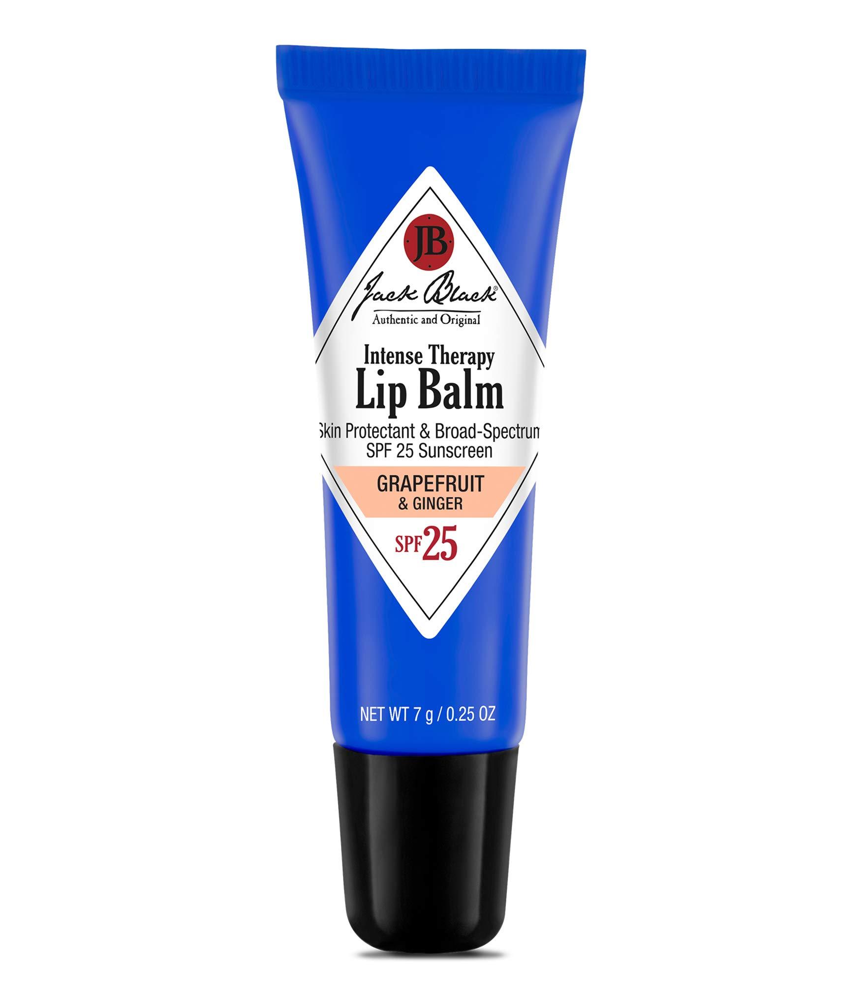 JACK BLACK - Intense Therapy Lip Balm SPF 25 - Green Tea Antioxidants, Long Lasting Treatment, Broad-Spectrum UVA and UVB Protection, Grapefruit & Ginger Flavor, 0.25 oz.