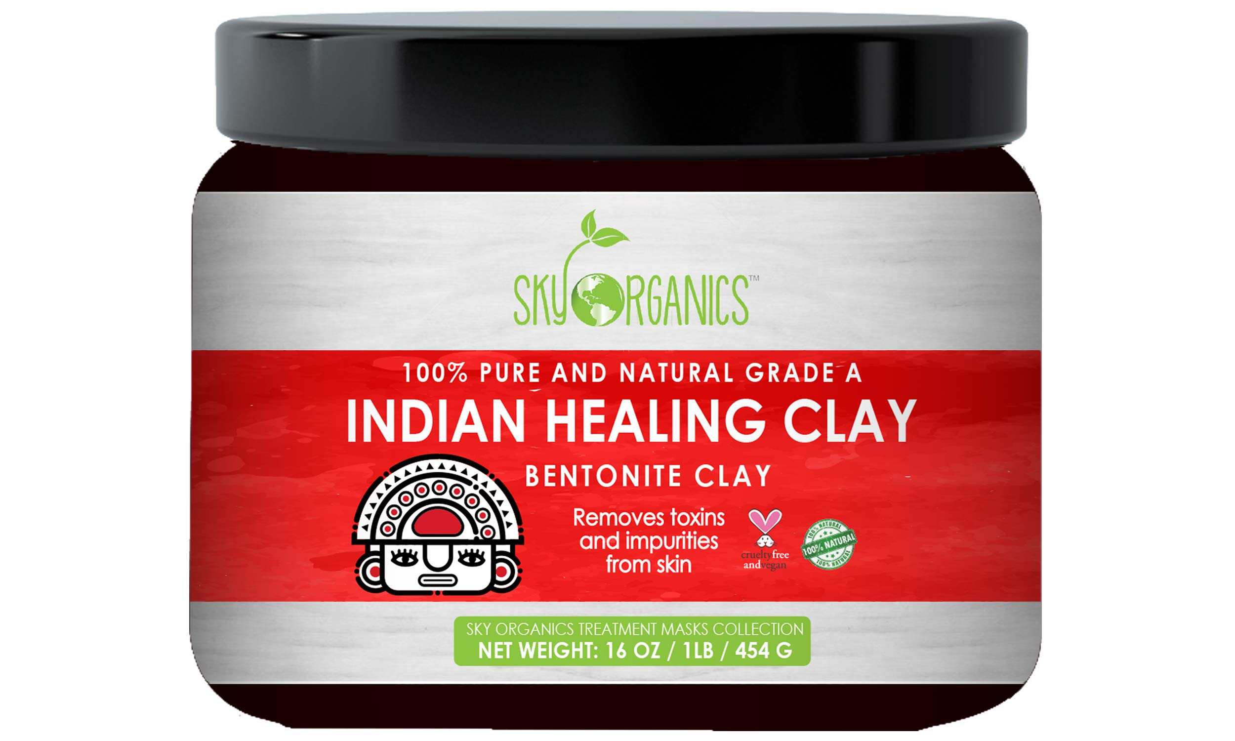Sky Organics - Indian Healing Clay By Sky Organics 16oz –100% Pure & Natural Bentonite Clay-Therapeutic Grade - Face Skin Care, Deep Skin Pore Cleansing, Detoxifying- Helps with Acne & Rejuvenating Skin- Made in USA