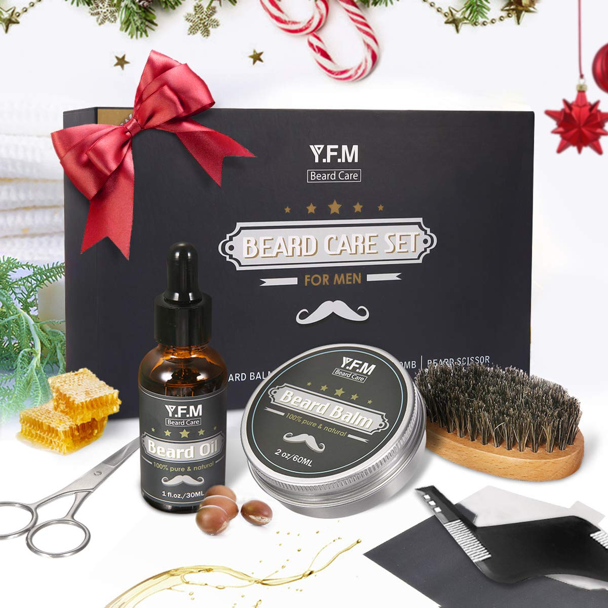 null - Y.F.M Beard Care Grooming & Trimming Kit for Father's Days Gift Men Beard Care Gift Set Beard Conditioners Oil, Beard Shaping Comb, Beard Brush, Mustache Scissors, Beard Balm