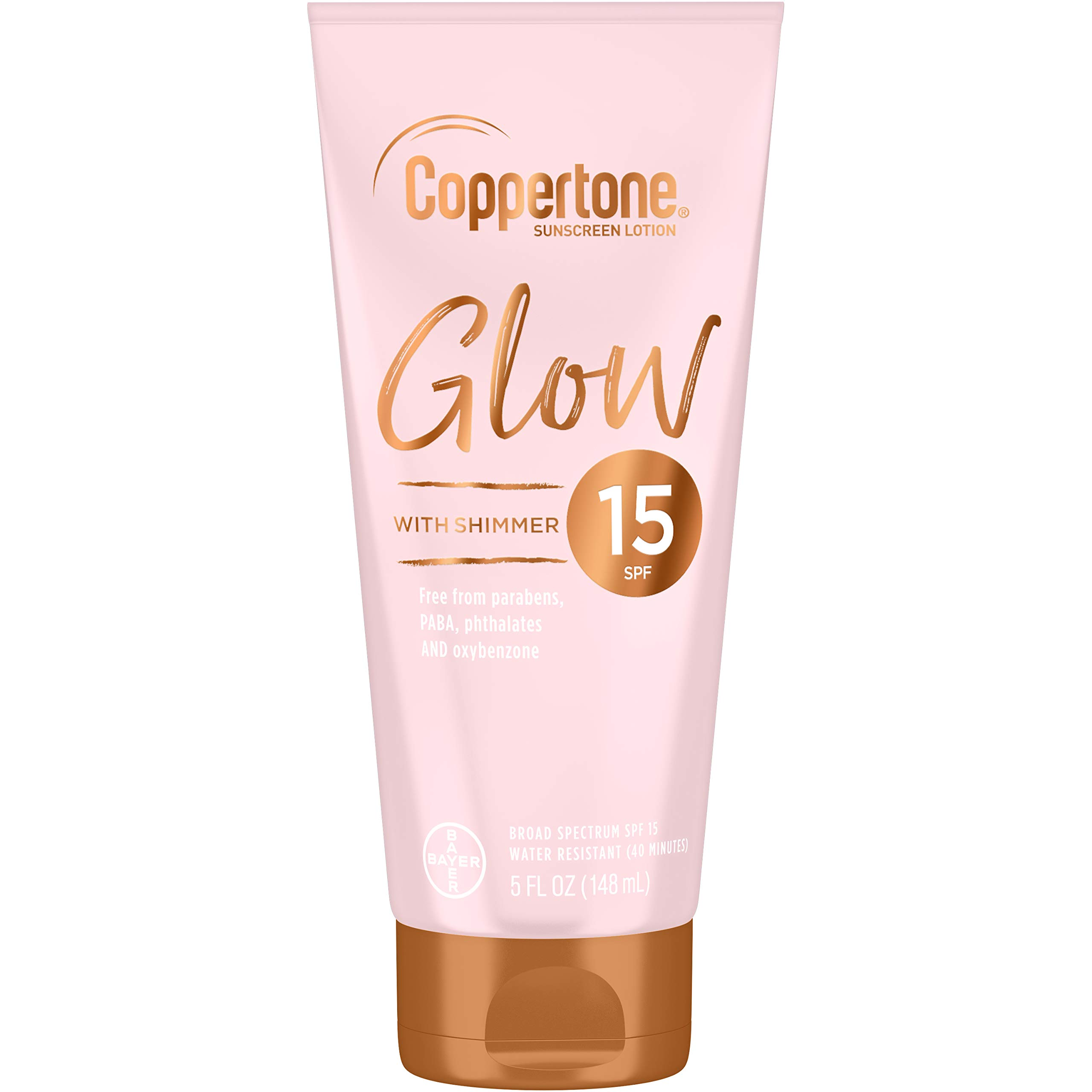 Coppertone - Coppertone Glow Hydrating Sunscreen Lotion with Illuminating Shimmer Minerals and Broad Spectrum SPF 15, Water-resistant, Fast-drying, Free of Parabens, PABA, Phthalates, Oxybenzone, 5 Fl Oz