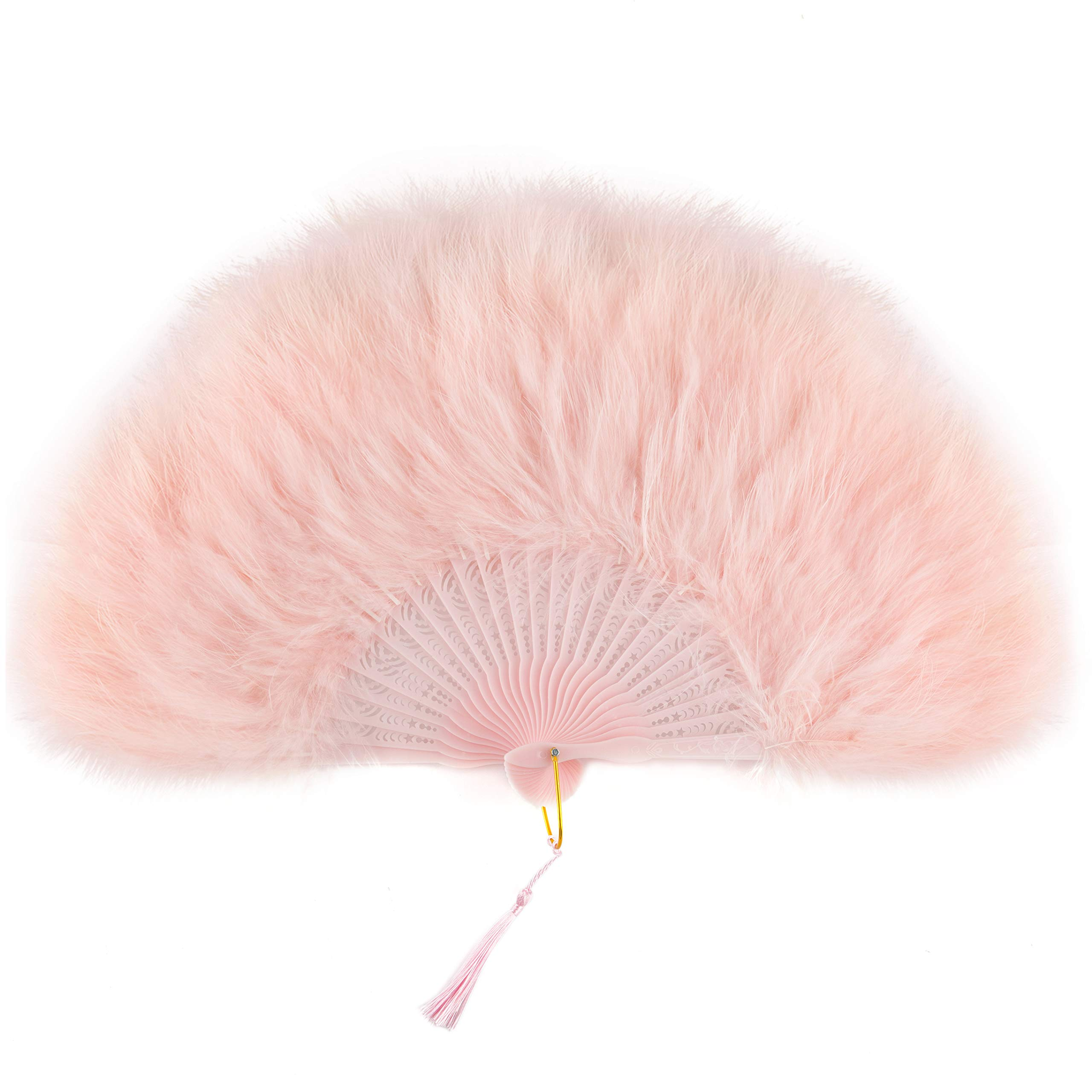 BABEYOND - BABEYOND Roaring 20s Vintage Style Folding Handheld Flapper Marabou Feather Hand Fan for Costume Halloween Dancing Party Tea Party Variety Show 11 Inches X 20 Inches (Pink-Pink Rib)