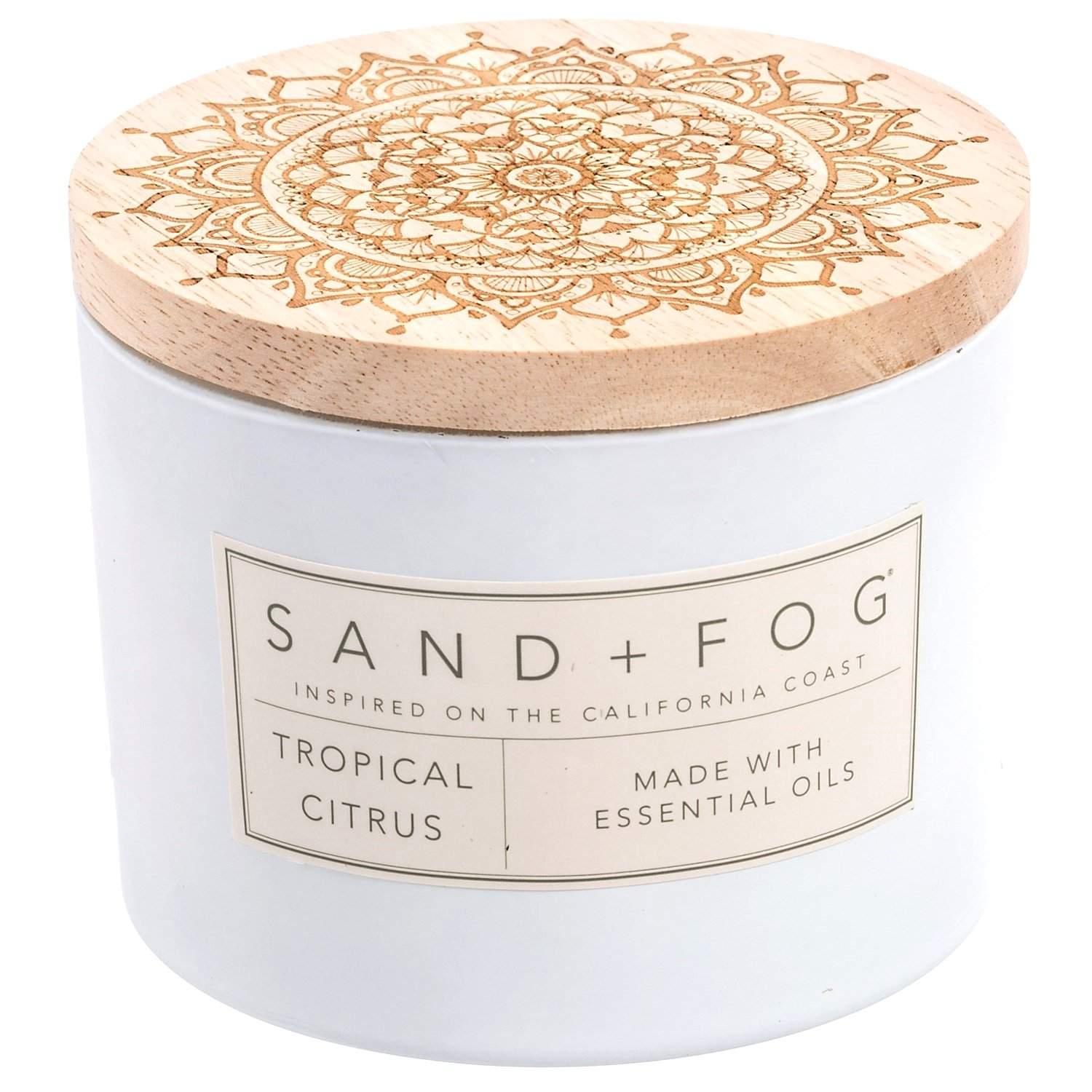 null - Sand + Fog Coastal Tropical Citrus Matte Candle - 2-Wick, 12 oz., Wood Lid