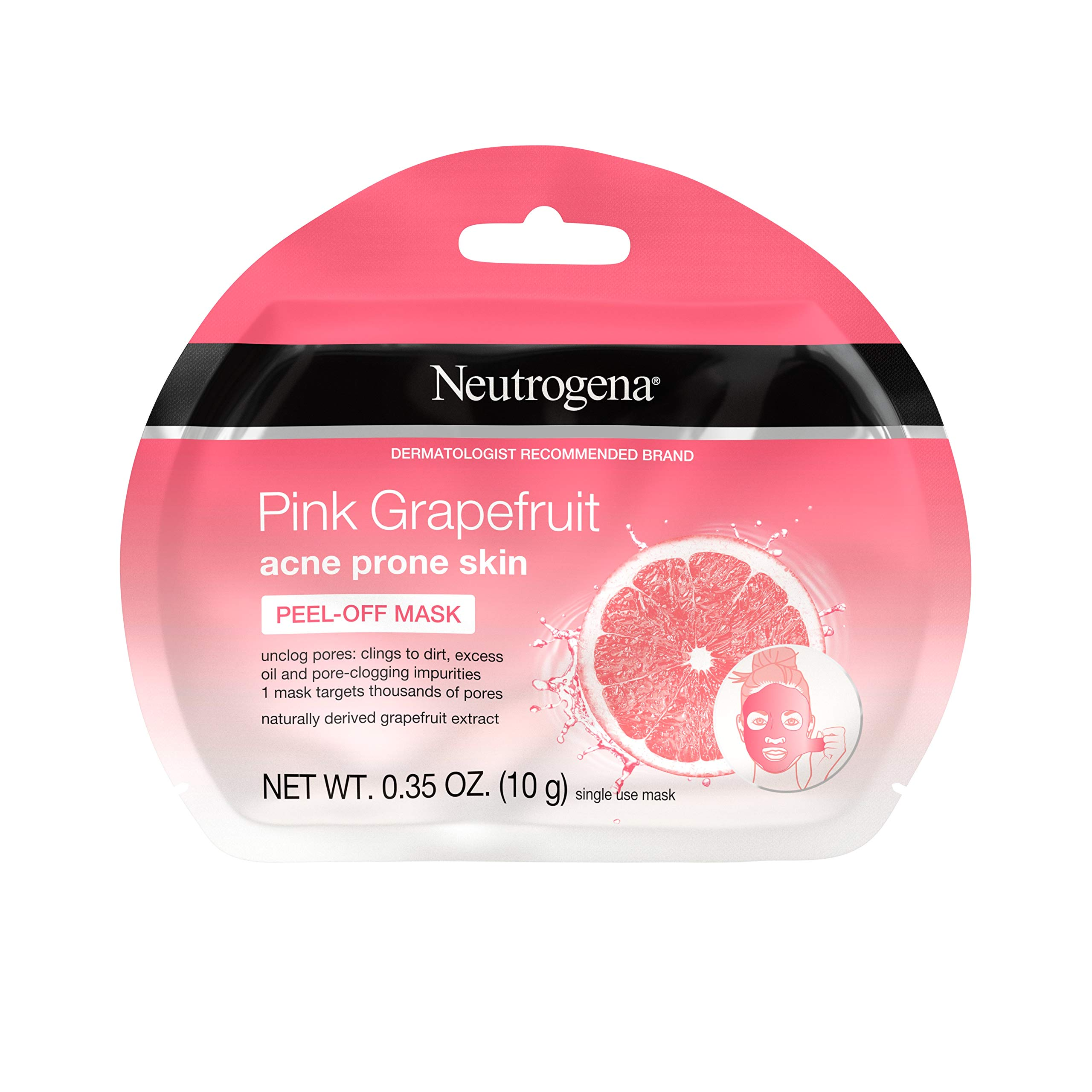 Neutrogena - Neutrogena Pink Grapefruit Peel-Off Face Mask for Acne Prone Skin Grapefruit Extract, Non-Comedogenic & Oil-Free, Single-Use 0.35 oz (Pack of 6)
