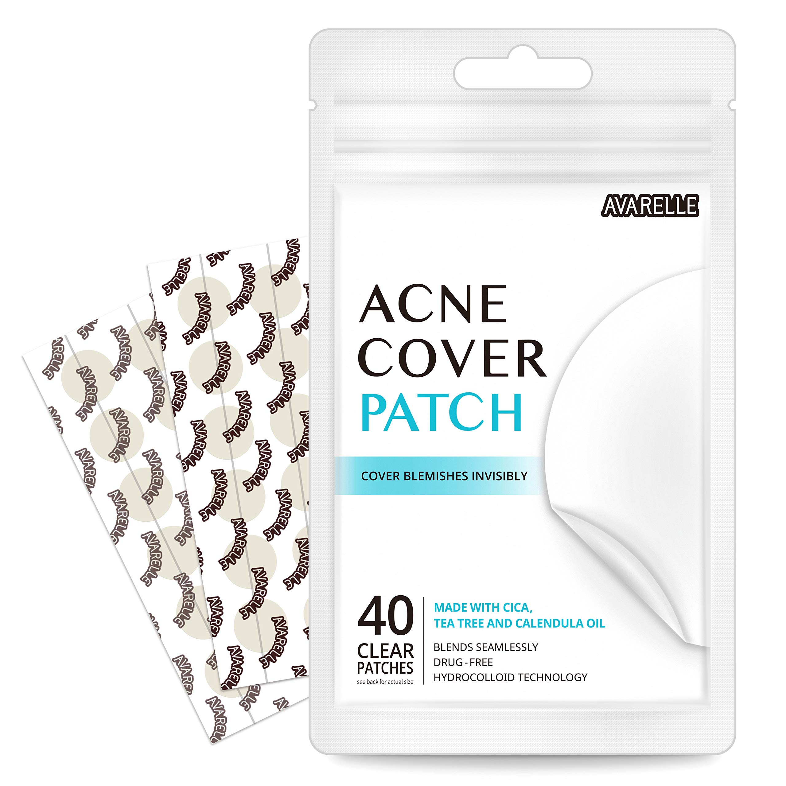 null - Avarelle Acne Absorbing Cover Patch Hydrocolloid, Tea Tree, Calendula Oil, CICA (40 ROUND PATCHES)