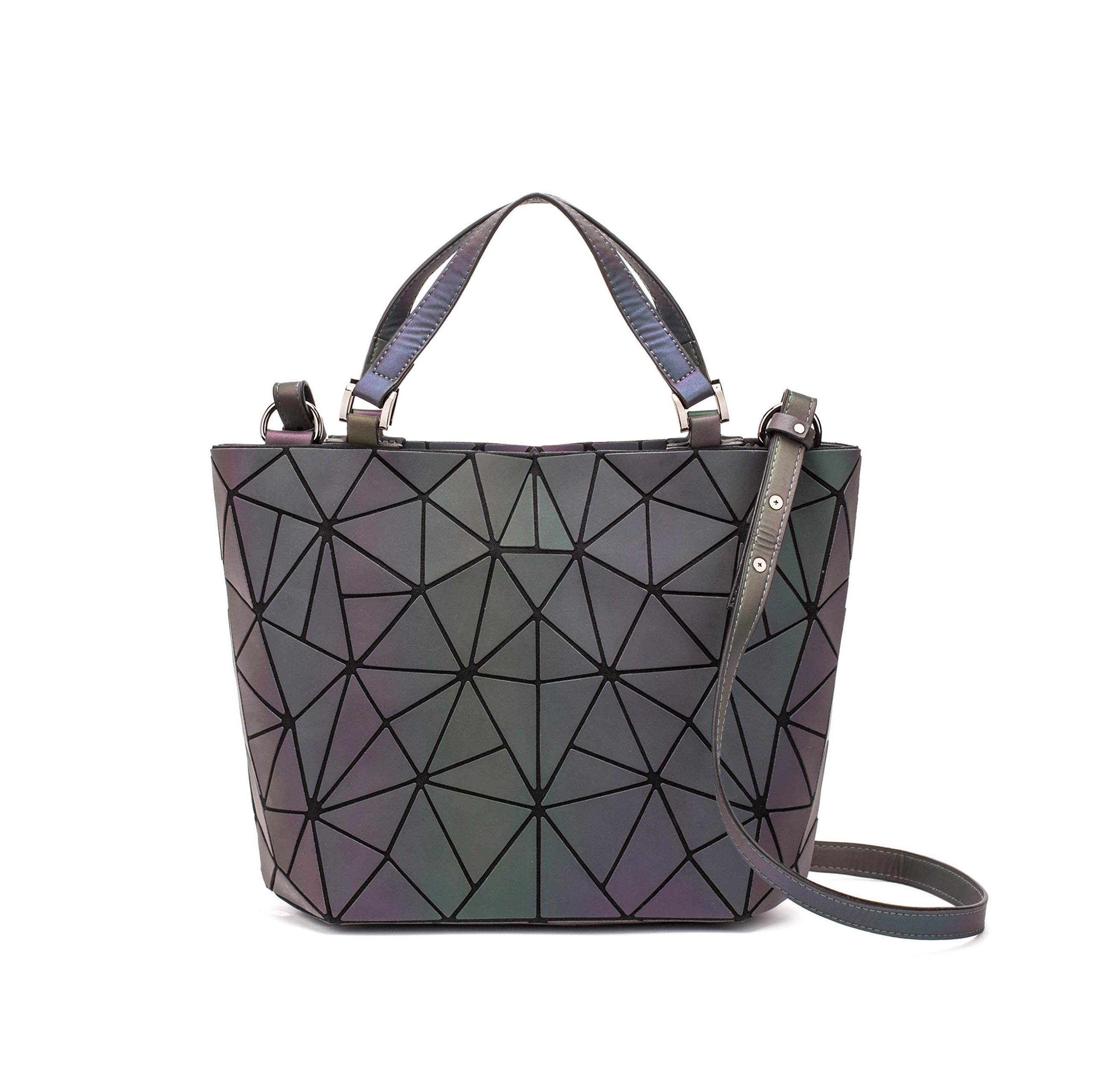 null - Geometric Backpack Fashion Backpacks Shard Lattice Luminous Bag Holographic Reflective Travel Rucksack NO.4