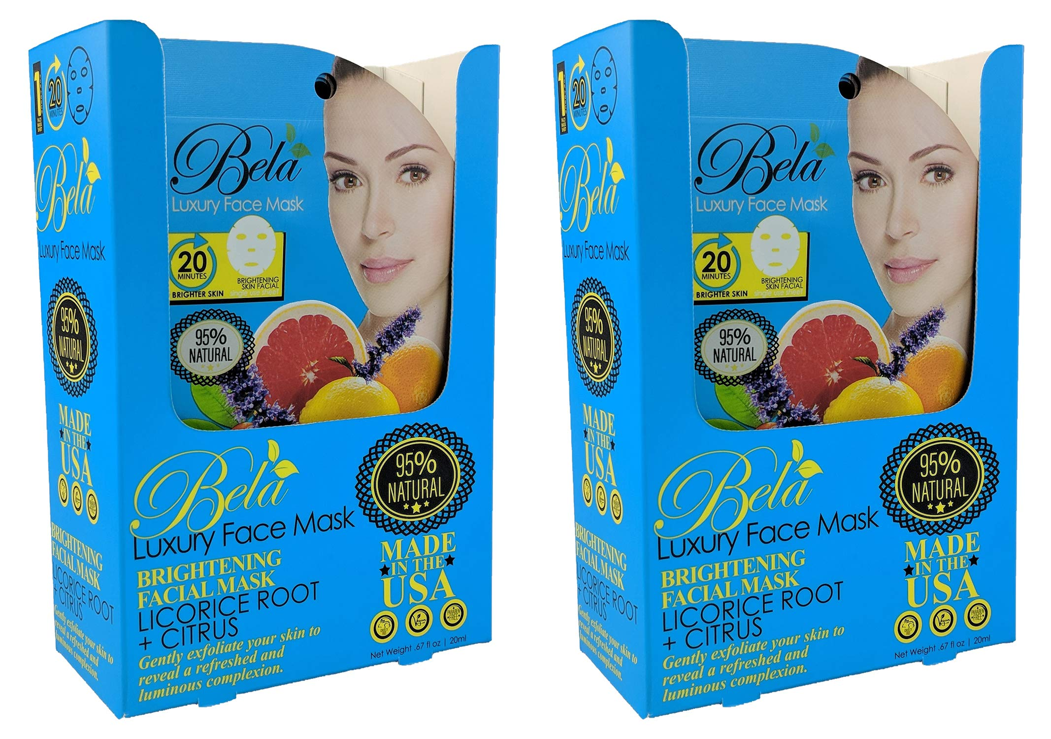 BELA PURE NATURAL SOAPS AND ODOR ELIMINATING HOME FRAGRANCES - Bela Luxury Face Mask Sheets - Brightening Formula - 24 Face Masks - 2, 12 Piece PDQ Trays (Brightening Formula) 24 Count, Retail Ready