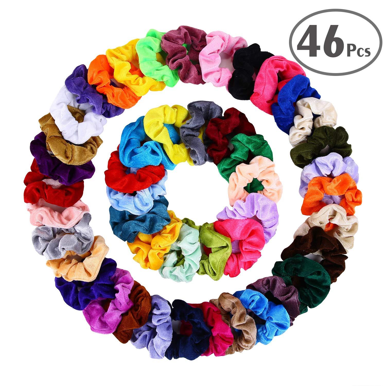 null - Hair Scrunchies Velvet Elastic Hair Bands Scrunchy Hair Ties Ropes Scrunchie for Women or Girls Hair Accessories - 46 Assorted Colors Scrunchies