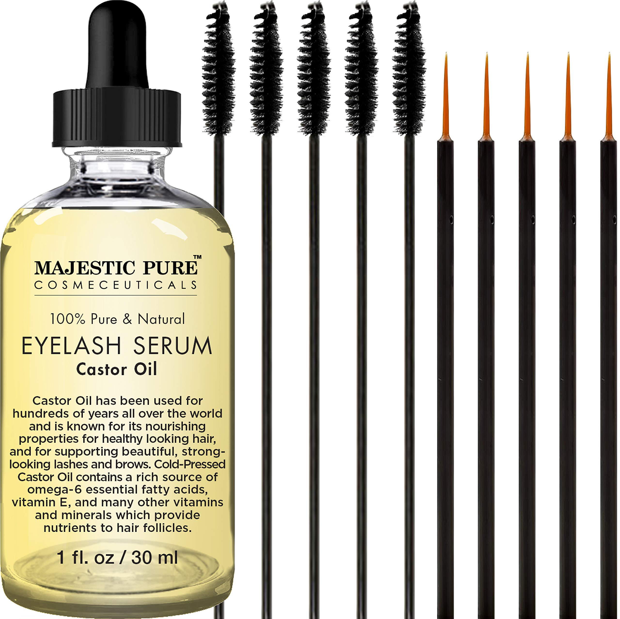 Majestic Pure - Majestic Pure Castor Oil Eyelash Serum, Promotes Natural Eyebrows & Eyelash Growth, Pure and Natural, Free Set of Mascara Brush and Eyeliner Applicator - 1 fl oz