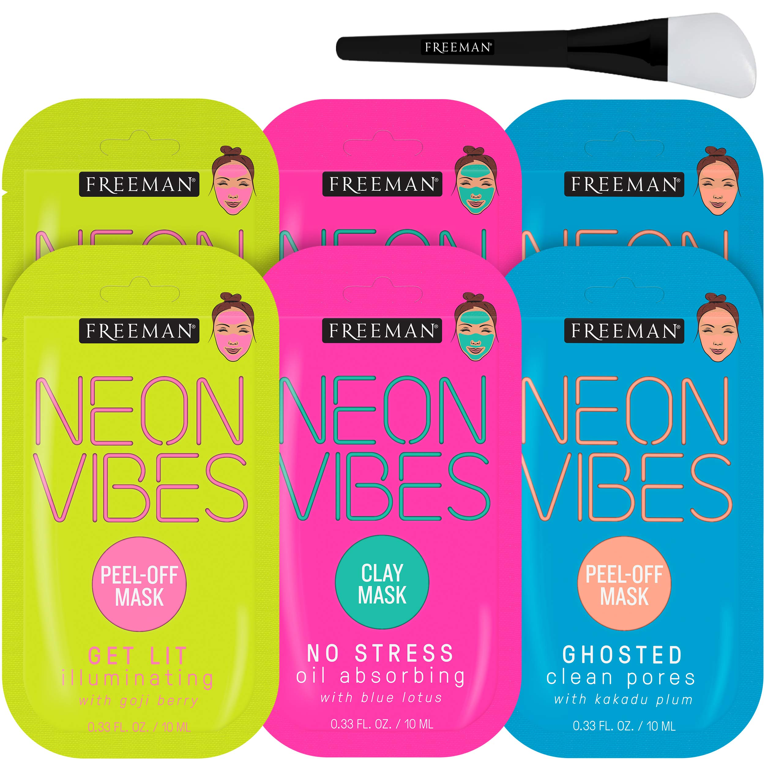 Freeman - Freeman Neon Mask Collection (Pack of 6) + Bonus Brush Clay Mask Oil Absorbing Clean Pores Peel-off Mask