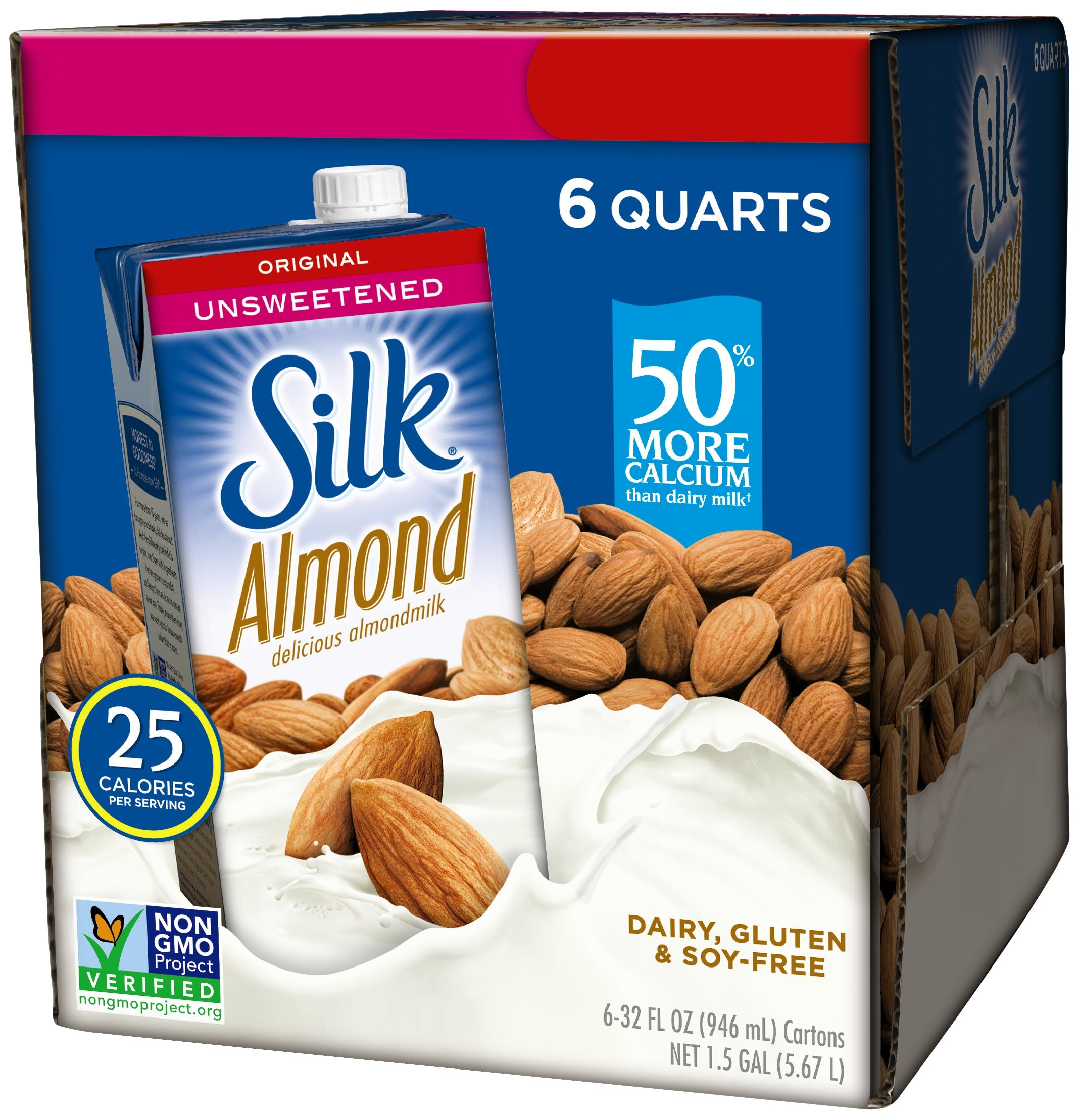null - Silk Almond Milk Unsweetened Original 32 oz (Pack of 6) Shelf Stable, Unsweetened, Unflavored Dairy-Alternative Milk, Organic, Individually Packaged