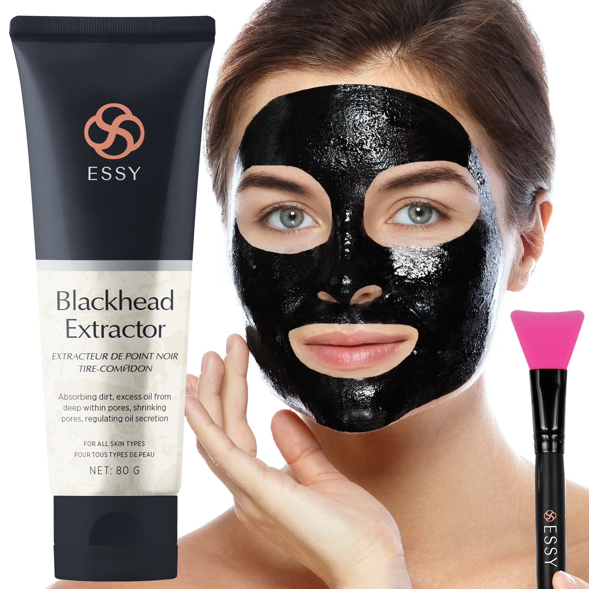 Essy - Black Peel-off Mask, Charcoal Blackhead Remover Mask