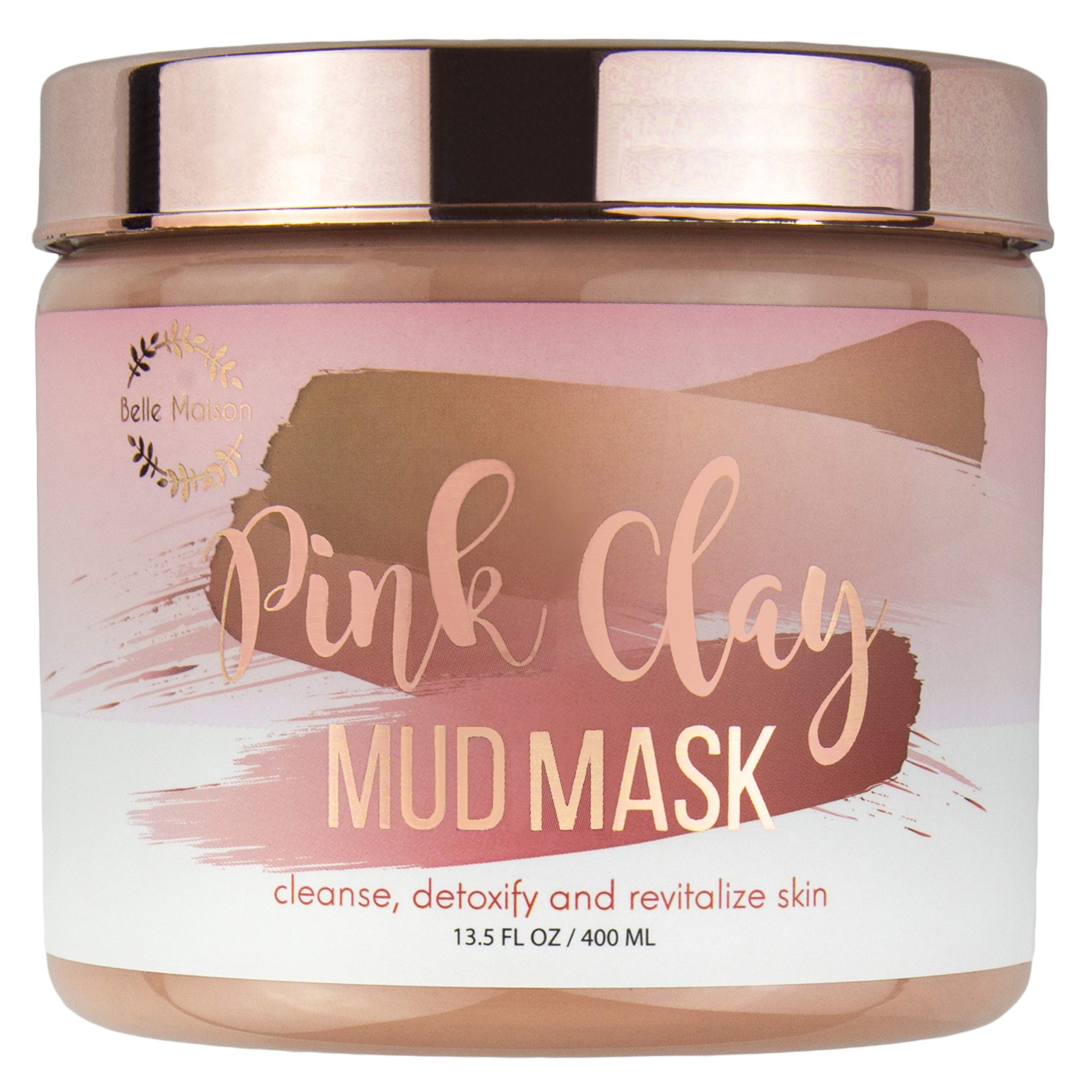 Enchante - Belle Maison Pink Clay Peeling Hydrating Mud Mask for Face, Purifies and Revitalizes Dry and Dull, Sensitive Skin, Pore Refining and Skin Brightening, Suitable For all Skin Types, 13.5 Fl Oz