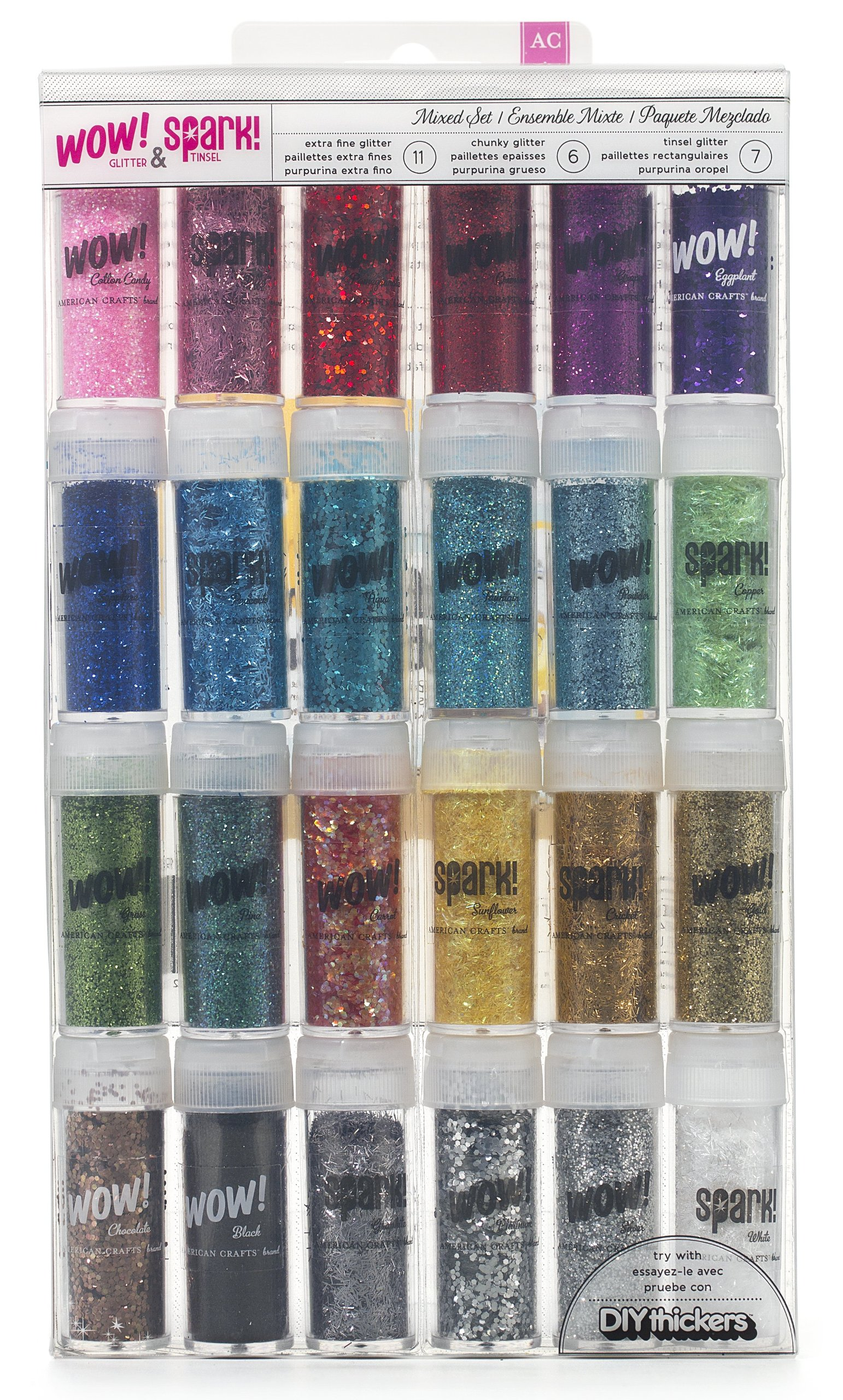 null - Wow! & Spark! Mixed Glitter Pack by American Crafts | 24-pack | Includes 11 bottles extra fine glitter, 6 bottles chunky glitter and 7 bottles tinsel glitter in various colors