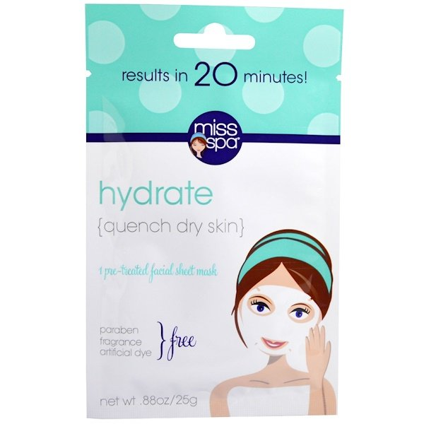 Miss Spa - Miss Spa, Hydrate, Pre-Treated Facial Sheet Mask, 1 Mask
