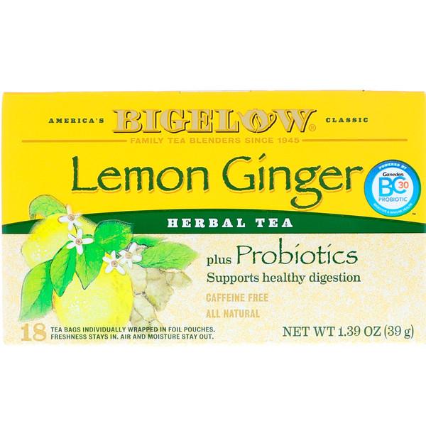 Bigelow - Bigelow, Herbal Tea Plus Probiotics, Lemon Ginger, Caffeine Free, 18 Tea Bags, 1.39 oz (39 g)